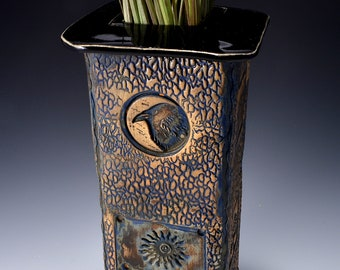 Tall Square Vase, Stoneware with Black Patent Glaze and Unglazed Exterior Texture with a tall house pattern