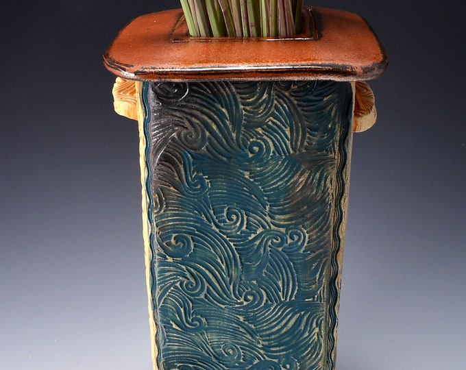 Tall Square Vase, Stoneware with Metallic Ancient Copper Glaze and Unglazed Exterior Texture with a crashing wave pattern