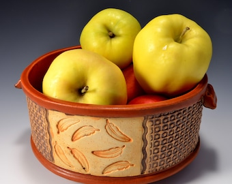 Round Straight Sided Bowl for Fruit or Vegetables, Unglazed Textured Stained Outside Makes a nice Succulent Planter or Cactus Planter