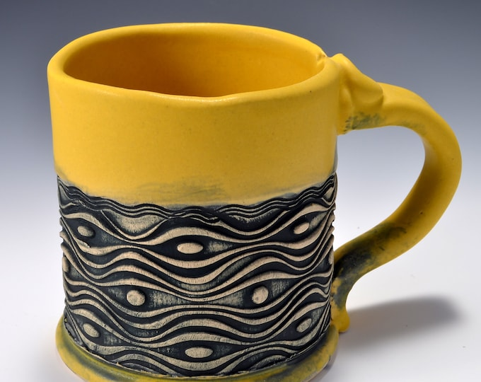 Stoneware Mug with Impressed Pattern of Wavy  Lines and Dots, Satin Matte Turmeric Yellow - 14 ounces by Tom Bottman