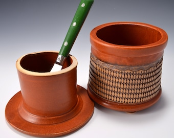 French Butter Keeper or Crock with Checkerboard Impressed Pattern with Matte Paprika Red Glaze by Tom Bottman