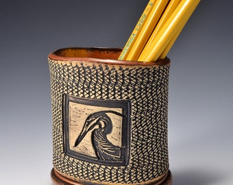 Oval Desktop Pencil and Pen holder in Ancient Copper Glaze and Lively Textured Exterior with heron Image by Tom Bottman
