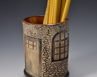 Oval Desktop Pencil and Pen holder in Ancient Copper Glaze and Lively Textured Exterior with cottage Image by Tom Bottman