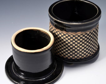 French Butter Keeper or Crock with Checkerboard Impressed Pattern with Gloss Black Patent Glaze by Tom Bottman