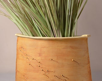Tall Flattened Oval Vase, Stoneware with Matte Vanilla Cream Glaze and Unglazed Outside Texture Stained with a yellow-brown pigment
