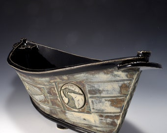 """Large """"Dory"""" Shaped Long Serving bowl with Gloss Black glaze and stained and textured exterior with a rustic paint pattern by Tom Bottman"""