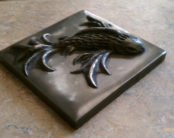 "4""x4""x1"" Metal ""koi"" Tile"