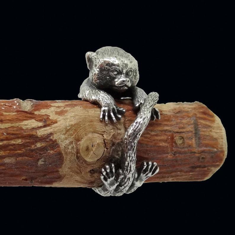Size 9 Monkey Ring Silver Ring Marmoset Ring Size 8 Monkey Jewelry
