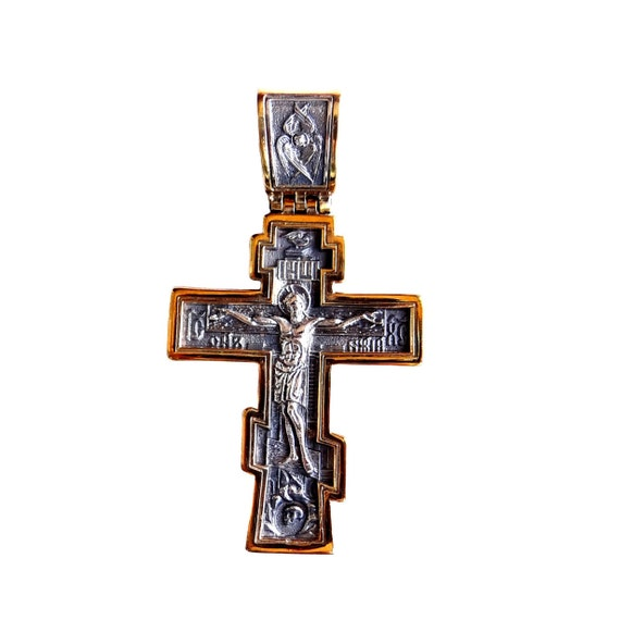 Sterling Silver Big Russian Greek Orthodox Cross Silver Etsy