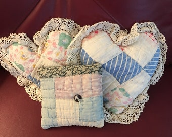 Set of Three Vintage Pillows, Vintage Quilt Heart Pillows