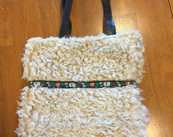 Beige Faux Fur Purse, Black Red White Braid Decorated Bag