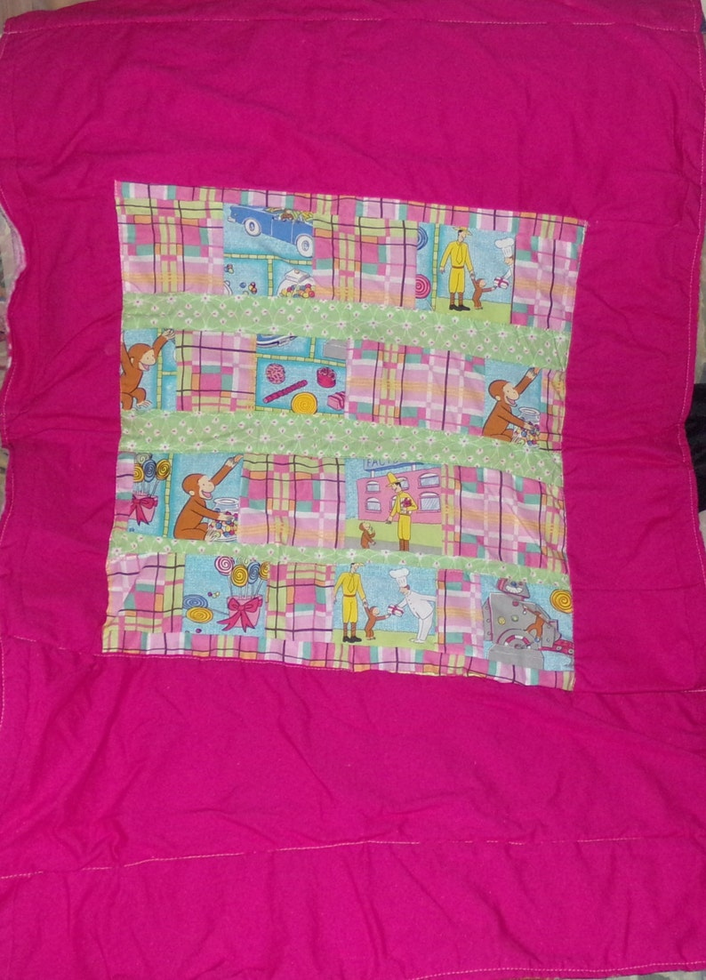 Curious George Upcycle Handmade Pastel Quilt  Blanket  Throw CottonFleece