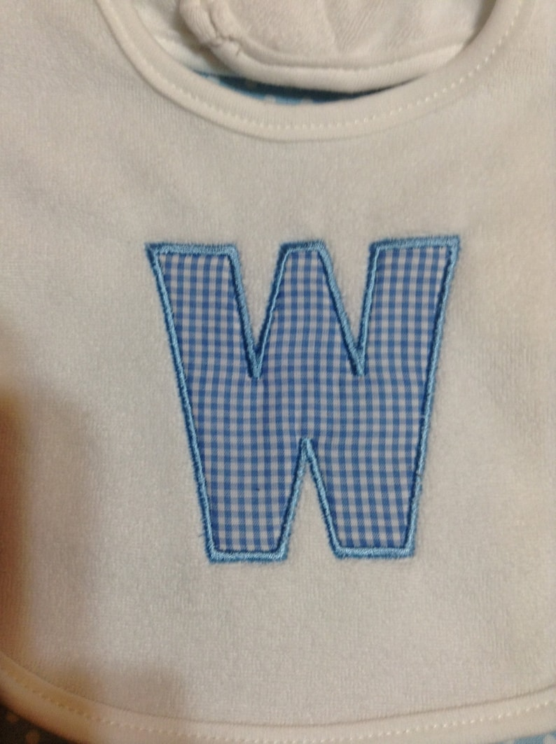 Baby Bib Letter W in Blue and White Gingham CheckAny letter Your Choice