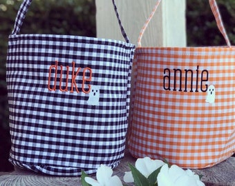 Gingham Halloween Treat Bag Personalized