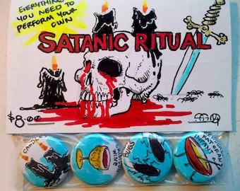 Satanic Ritual Hand Drawn Illustrated Art Buttons