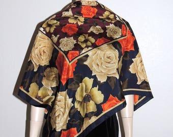Harve Benard Large Floral print Silk Scarf 33 x 35