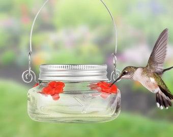 Mason Jar Hummingbird Feeder - Outdoor Decor - Garden Decor - Bird Feeder - Dishwasher Safe
