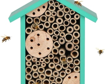 Pollinator House - Insect Habitat Wall Mounted Bee House Natural Bamboo Tube Bee Hotel  - Butterfly Ladybug House - Outdoor Garden - Bug