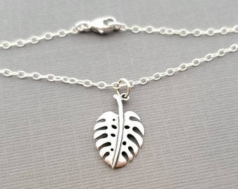 Monstera Delicioso Plant Addict Sterling Silver Necklace - Gift for Her - Gardener Gift