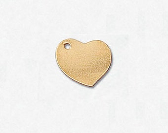14/20 Gold Filled Charm Heart 10mm w/Hole - 2 Pieces
