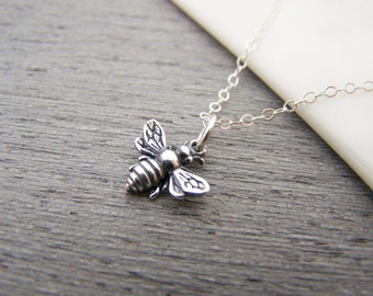 3D Bumblebee Charm Sterling Silver Necklace - Bee Pendant - Gift for Her - Gardener Gift