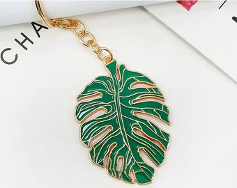 Monstera Leaf Keychain  - Plant Keychain - Gift for Her - Gardener Gift
