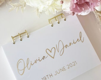 Perspex Guestbook- Acrylic Wedding Guestbook- Personalised Wedding Guestbook- White gloss- Rose gold - Silver- Gold
