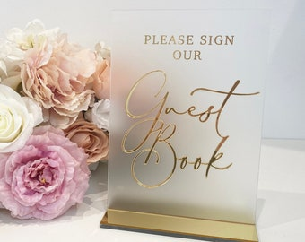 3D Acrylic Guestbook Sign- Please Sign Our Guestbook Sign- Perspex Wedding Sign- Frosted Wedding Sing- Size A5- Gold, Silver, Rose Gold