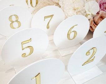 3D Circular Table Numbers- Perspex- Acrylic- Perspex Table Numbers- wedding table numbers- White Gold