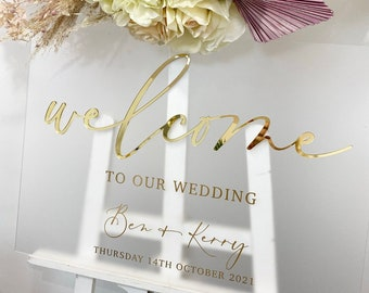 Perspex 3D Wedding Welcome Sign- Frosted Perspex wedding sign- Acrylic- 3D Mirror Perspex- Welcome wedding sign- Gold- Rose Gold- Silver