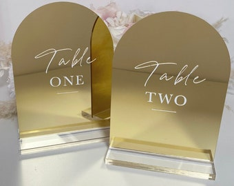 GOLD MIRROR Perspex Arch Table Numbers- Perspex- Acrylic- Perspex Table Numbers- wedding table numbers