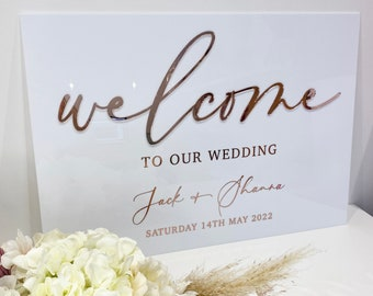 Perspex 3D Wedding Welcome Sign- White Perspex wedding sign- Acrylic- 3D Mirror Perspex- Welcome wedding sign- Gold- Rose Gold- Silver