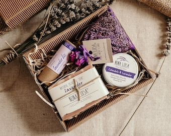 Premium Lavender Natural Self Care Gift Set | 100% Natural Cosmetics | Cosmetic Gift Box, Lavender Spa Set, Relaxation Gift, Soap Gift Set