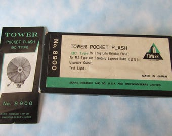 Vintage Pocket Flash Light by TOWER in the Fifties, made for Sears, Roebuck and Co., /w Box and Manual in good Condition