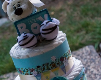 Baby Boy Diaper Cake - It's a Boy Diaper Cake - Diaper Cake for Boy - Blue Diaper Cake