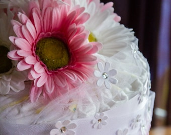 Gerber Daisy Diaper Cake - Baby Girl Diaper Cake - Pink and White Baby Shower -  Diaper Cake Centerpiece - It's a Girl - Baby Girl