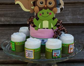 Woodland Friends Baby Shower Decor- Diaper Cake Alternative - Baby Shower Centerpiece - Animal Lover Baby Shower Gift