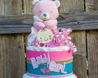 Baby Girl Diaper Cake - Diaper Cake for Girl - Pink Teddy Bear Diaper Cake - Pink and Teal Diaper Cake - It's a Girl - Baby Girl Baby Shower