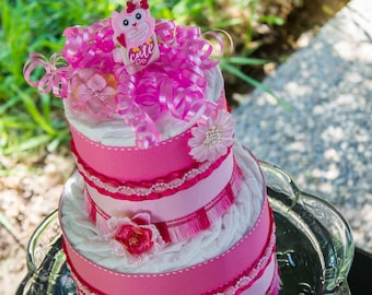 Pink Owl Diaper Cake - Its a Girl - Baby Shower - Owl Baby Shower Cake - Baby Shower Cake - Diaper Cake - Owl Baby Shower - Hot Pink Shower