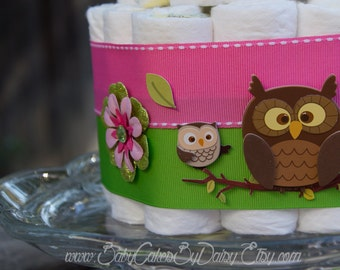 Owl Diaper Cake - Lime Green and Pink Baby Shower - Owl Baby Shower Centerpiece - Baby Girl Owl Diaper Cake