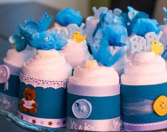 Mini Diaper Cupcakes - Baby Boy Diaper Cupcakes - Baby Boy Shower Favors - Mini Diaper Cakes - It's a Boy - Baby Shower - Diaper Cake Boy