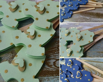 Mint/Navy Blue Cupcake Toppers - Baby Shower Cupcake Toppers - Gold Polka Dot Cupcake Toppers - Baby Shower Decor - Gender Reveal