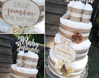 Pumpkin Diaper Cake - Gold and Brown Diaper Cake - Diaper Cake - Gender Neutral Diaper Cake - Fall Diaper Cake - Neutral Baby Shower Cake