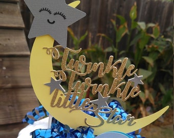 Moon and Stars - Cake Topper - Twinkle Twinkle Little Star - Baby Shower - Baby Cake Topper - Baby Shower Topper