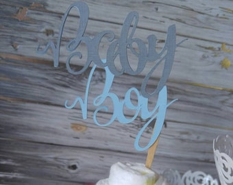 Baby Boy Cupcake Toppers - Baby Boy Topper - Baby Shower - Cake Topper - It's A Boy - Blue Gray - Oh Baby - Cupcake Toppers