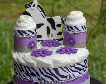 Purple Zebra Baby Shower Centerpiece - Purple Diaper Cake - Zebra Diaper Cake - Safari Baby Shower - Jungle Baby Shower - Zebra Baby Shower