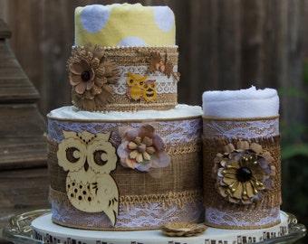 Burlap Diaper Cake - Baby Shower Decor - Flannel Blanket Cake - Fall Baby Shower - Rustic Owl Baby Shower - Autumn Baby Shower