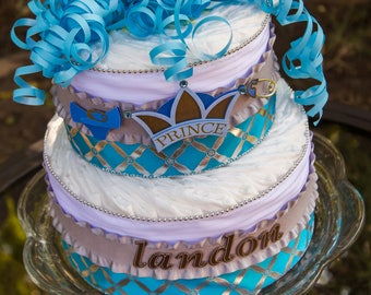 Prince Diaper Cake - Little Prince - It's a Boy - Prince Baby Shower - Diaper Cake - Baby Boy Shower - Baby Shower Centerpiece - Baby Cake