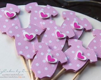 Pink Baby Shower Cupcake Toppers - Onesie Cupcake Toppers - Baby Girl - Its a Girl - Pink Polka Dot - Pink Onesie with Layered Heart