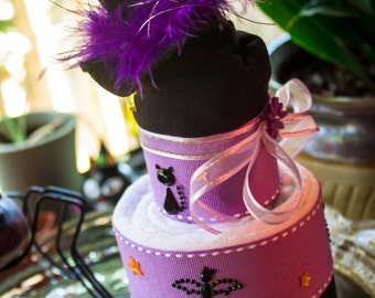 Halloween Baby Cake | Purple and Black Baby Shower Cake | Baby's First Halloween Cake | Halloween Shower Baby Cake Gift